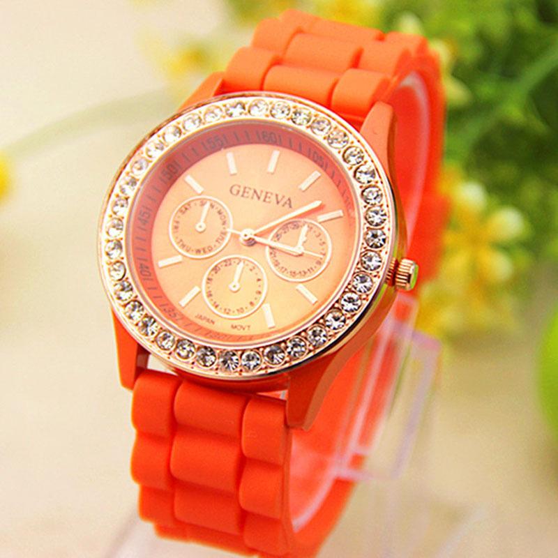Гаджет  Geneva Silicone Golden Crystal Stone Quartz Ladies/Women/Girl Jelly Wrist Watch 14 Candy Colors Free Shipping GH928 Top Brand None Ювелирные изделия и часы