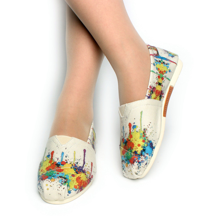 Fashion Comfort Round Toe Breathable Canvas Shoes Spring New Hot Sale Hand-painted Design Women Flats Discount Mary Shoe<br><br>Aliexpress