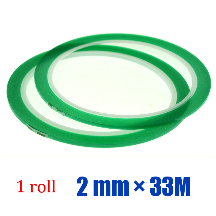 Free shipping 1roll*2mm*33M High Temperature PET Silicone Green Tape for PCB Solder Mask(China (Mainland))