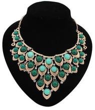 Elegant Long Rhinestone Necklace New Gold Plated Collar Crystal Pendant Necklace For Women Bling XN2015608(China (Mainland))