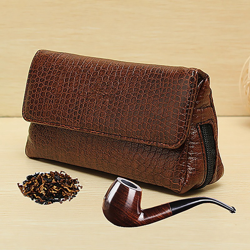 Leather Smoke Sack Smoking Pipe Case Savinelli Tobacco Bag Pipes Pouch Tamper Filter Tool Cleaner Briefcase Brown(China (Mainland))