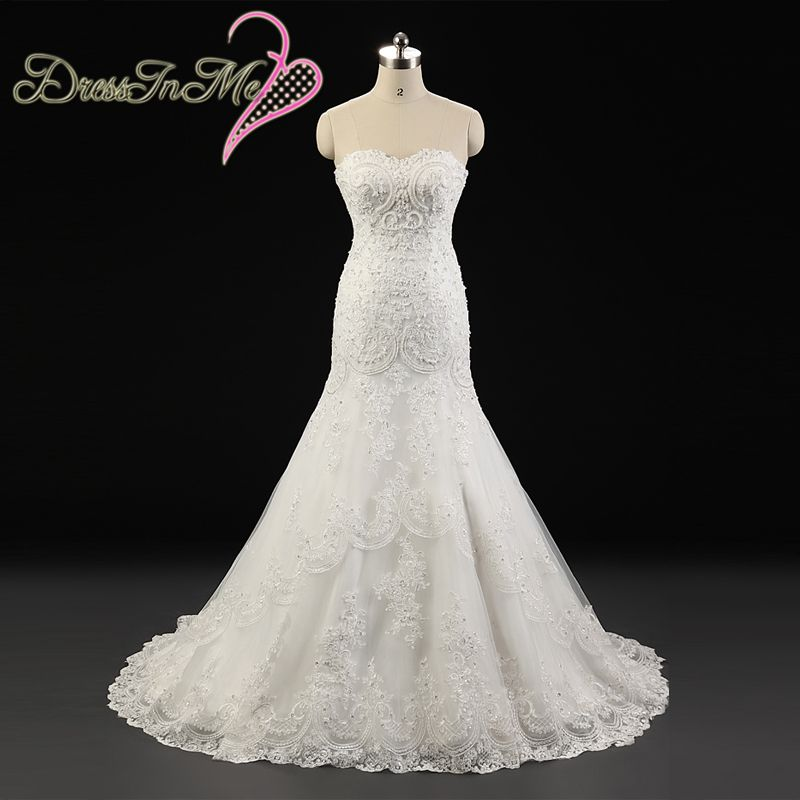 Beaded sweetheart neckline corded lace appliqued fit and for Sweetheart neckline fit and flare wedding dress