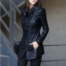 Free shipping fashion women clothes long coat women leather jacket stamd collar slim Motorcycle jackets Dust coat(China (Mainland))