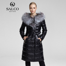 SALCO Vogue of new fund of 2015 hot silver fox collars hooded women genuine leather coats of cultivate one's morality(China (Mainland))