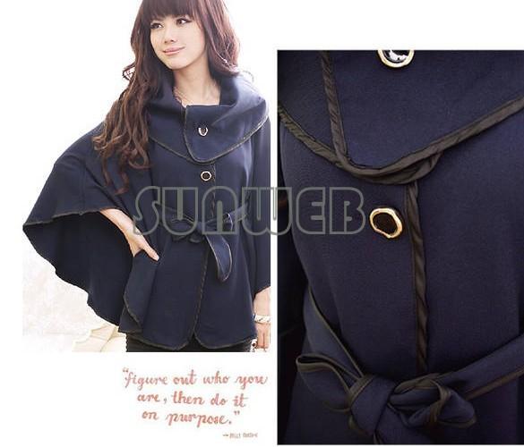 Korea Women's wool Coat outwear Cloak Coat with Waistband Dark Blue, Khaki Free shipping 22