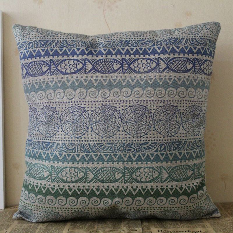 LINKWELL 18 x18 Blue Ethnic Design Tribal Pattern Fish Starfish Coastal Sea Burlap Seat Pillowcase Cushion