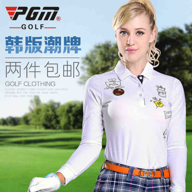 Two pcs free shipping PGM New product women Golf ball clothing Kore T-shirt Ms sportswear wholesale retailea edition long sleev(China (Mainland))