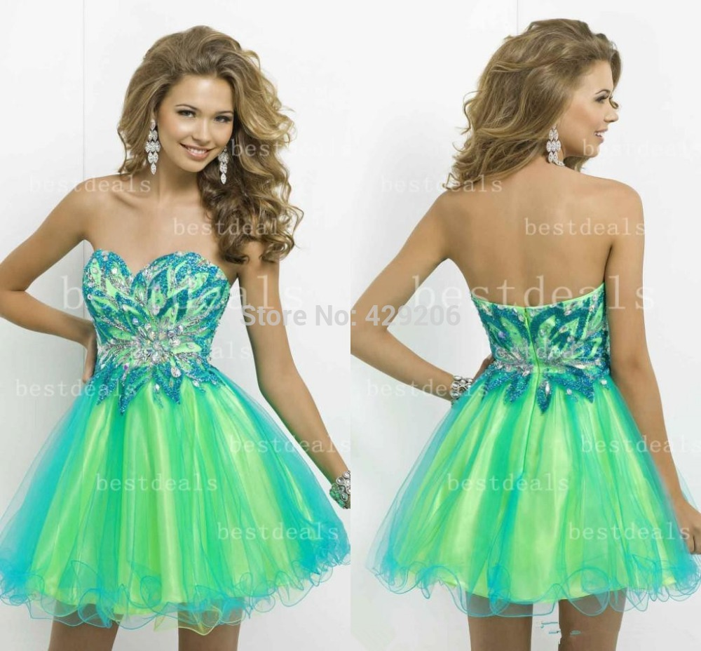 Green and blue short prom dress