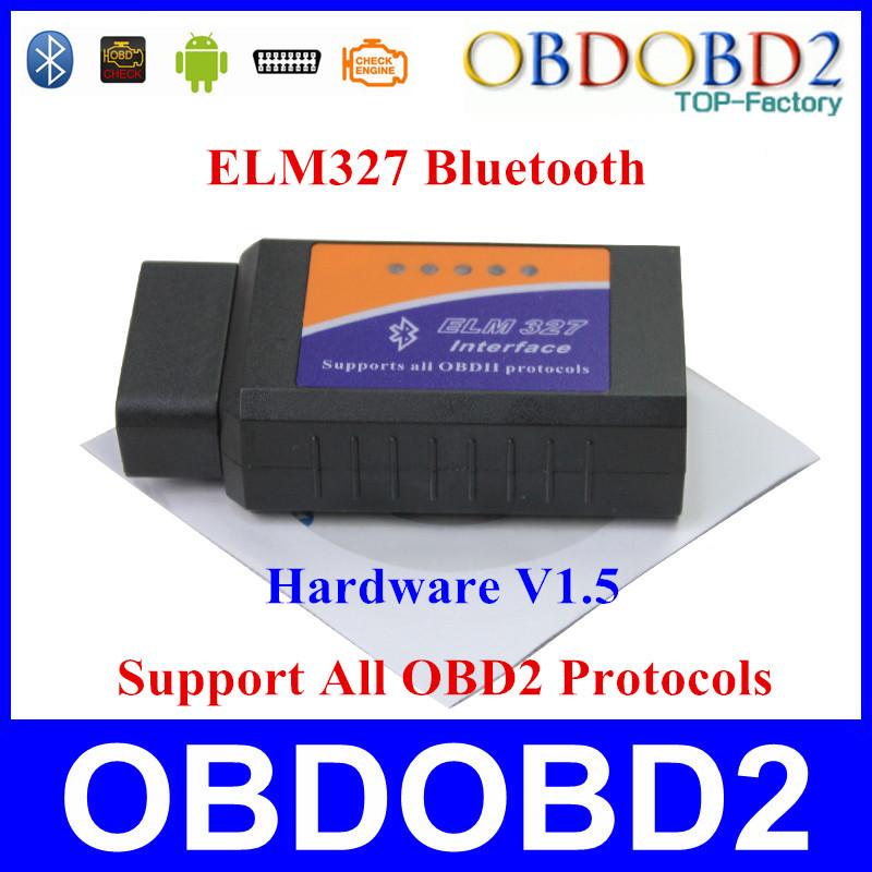 Quality A+++ ELM327 Bluetooth OBD2 / OBDII V1.5 CAN-BUS Auto Car Diagnostic Scanner ELM 327 1.5 Work on Android Torque Free Ship(China (Mainland))