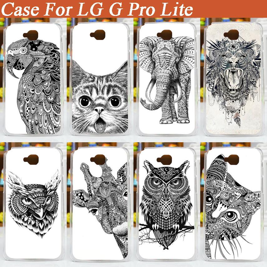 painting white and black animals Hard Plastic Fashion Case For LG G Pro Lite Dual sim card D686 D685 Case Cover For LG D685(China (Mainland))