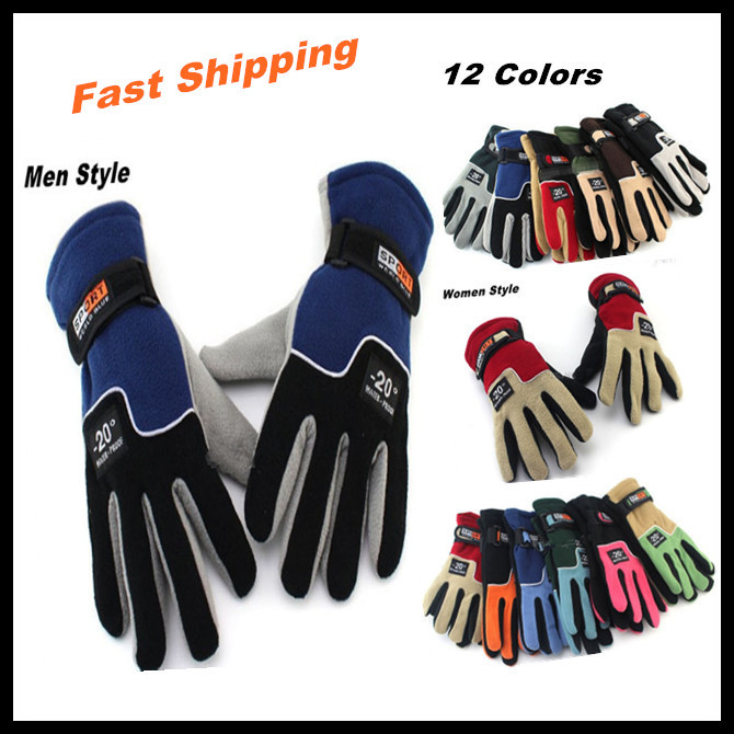 12 Colors Tactical Outdoor Sports Fleece Gloves, Men Women Winter Keep Warm Cycling Hiking Military Motorcycle Skiing Gloves(China (Mainland))