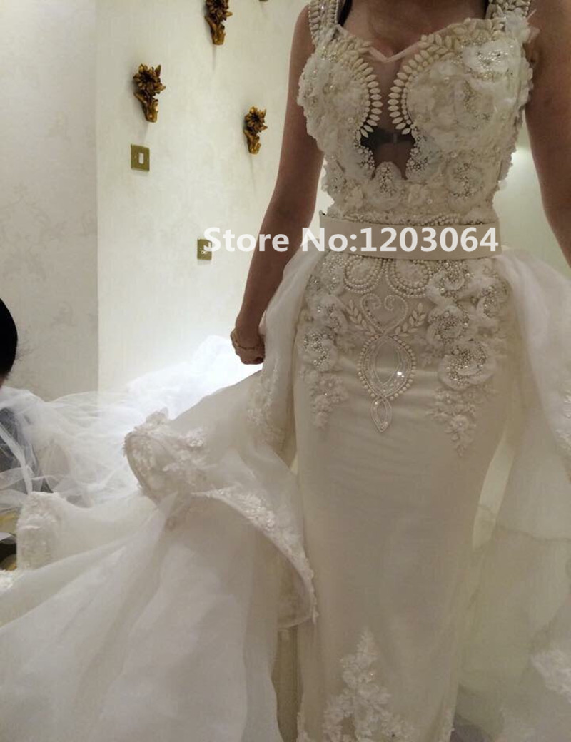Custom made robe de mariage mermaid wedding dress 2016 new for Detachable train wedding dress