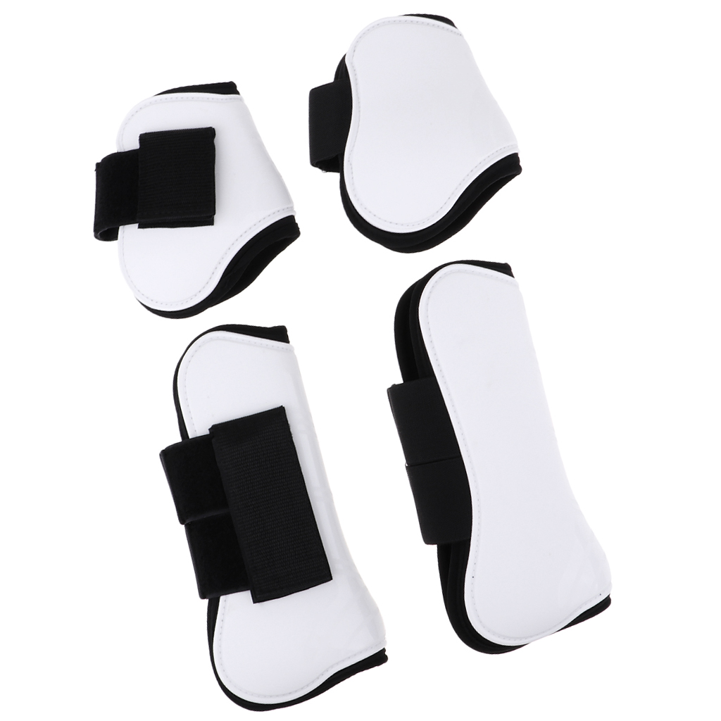 2 Pairs Horse Leg Boots Front Hind Leg Tendon Protect Equestrian, PU Shell and High-Quality Neoprene