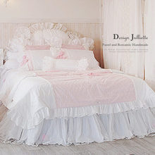 Korean style romantic princess bedding set lace quilted duvet cover yarn bedskirt bowknot wedding decoration quality textile(China (Mainland))