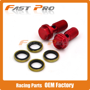 Red CNC Alloy Brake Cluth Radiator Hose Bolt Fitting Adaptor M10 x 1.25 Motorcycle Dirt Pit Bike Free Shipping
