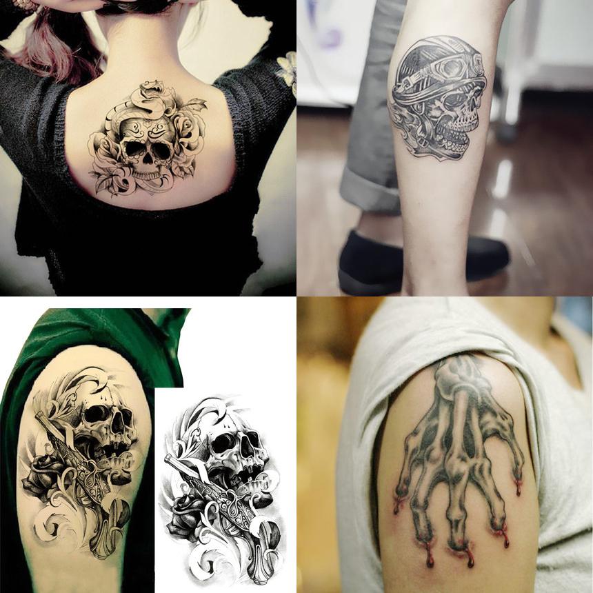 4pcs lot skull tattoos large sexy temporary tattoo for Adult temporary tattoo