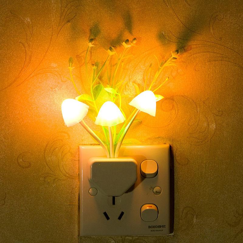 LED Night Light Color Lovely Rainbow Mushroom LED Night Light plug-in Wall Lamp Bathroom Bedroom NEW(China (Mainland))