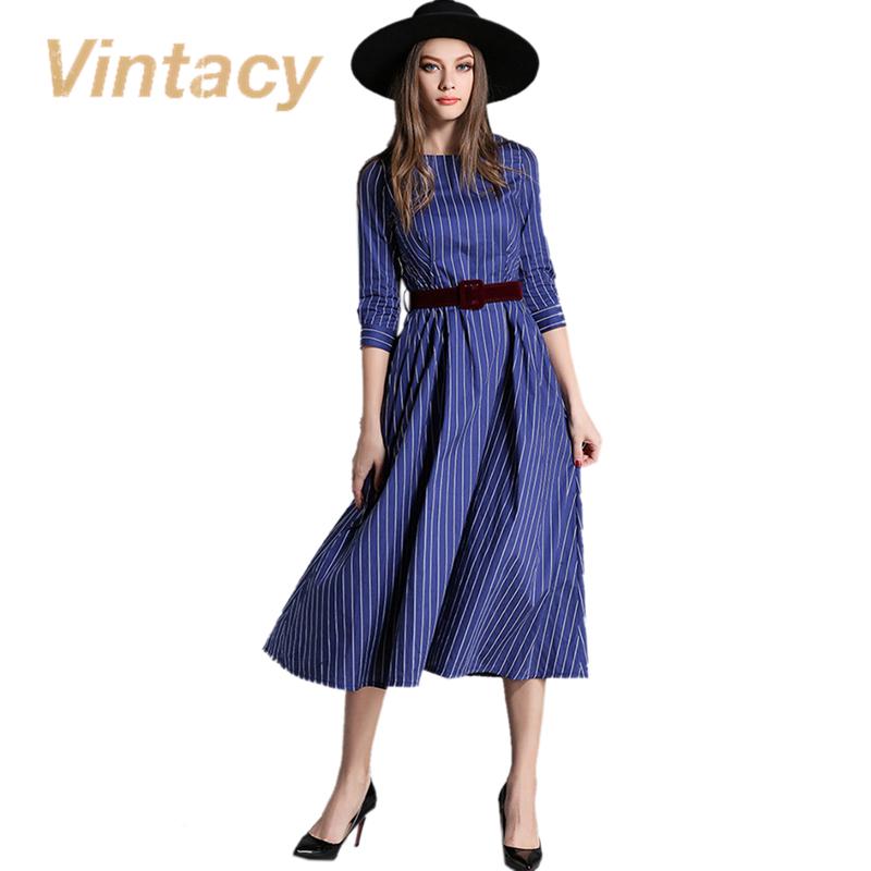 Vintacy vintage dress spring autumn belt winter women dress stripped office lady vintage dress rockabilly party women dresses(China (Mainland))