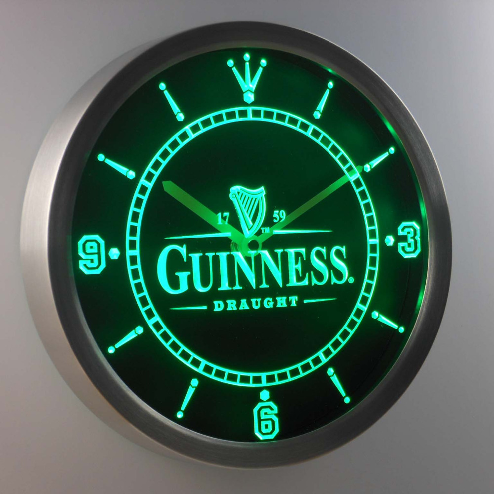 nc0090-g Guinness Vintage Logo Beer Bar Neon Sign LED Wall Clock
