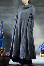 New style Autumn and Winter grey pure handmade embroidery ultralarge with a hood loose one-piece dress big size