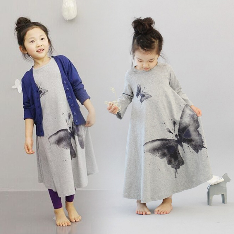 Autumn New Casual Baby Girl Dresses Girls Dress Butterfly