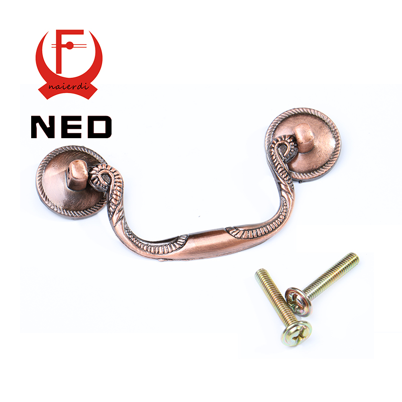 NED-RB8009 European Vintage Red Bronze Kitchen Cabinet Knobs 8.5x3cm Cupboard Handles Drawer Pulls With Rings Furniture Hardware(China (Mainland))