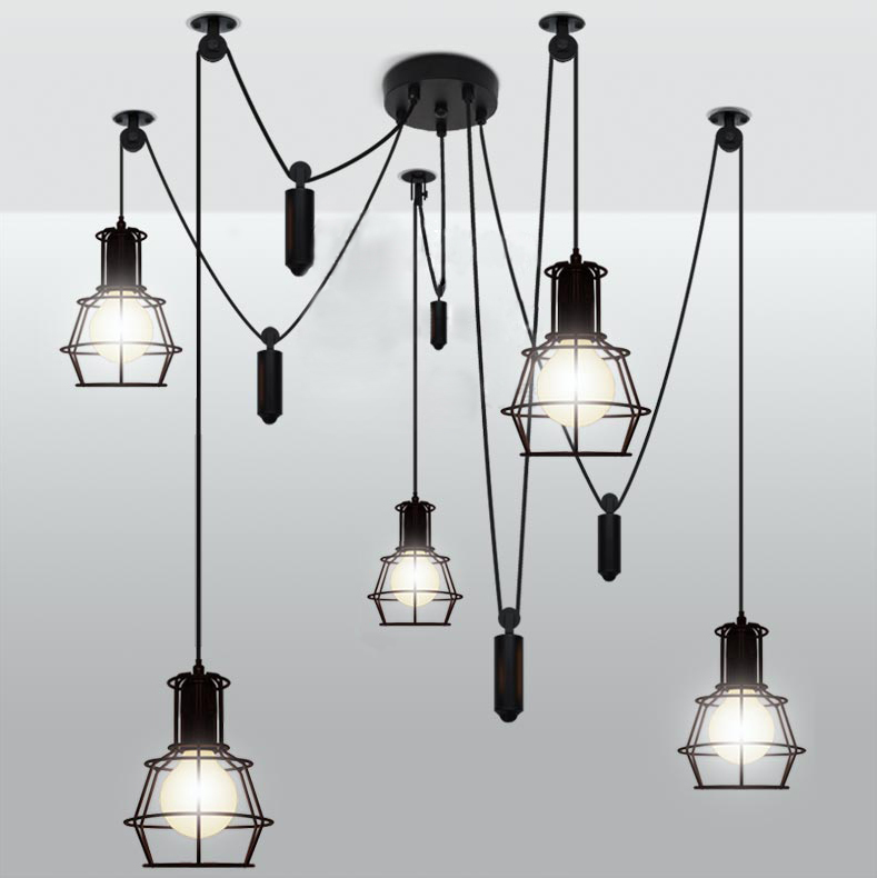 Здесь можно купить  5 Heads American Vintage Edison Lamps Living Room Chandelier Dining Room Mahjong Creative Lighting Small Lift Cages Bulb Holders  Свет и освещение