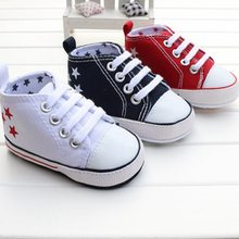 2016 New Fashion Cute Stars Baby Shoes 3 Colors Lace up Shallow Newborn Infant Kid First Walkers(China (Mainland))