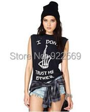 2015 summer new arrival women s Punk style sleeveless round neck short sleeve t shirt
