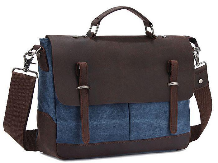 Men's Satchels Genuine Leather & Canvas Business Brefcase Crossbody messenger Bag Preppy Style Handbags BH-8012 Free Shipping(China (Mainland))