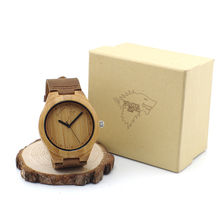 Fashion New Antique Genuine Cowhide Leather Band Lovers Luxury Watches Wood Bamboo Wristwatch for Men Women with Wolf Mark