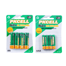 PKCELL 4Pcs 1.6V 2500mWh AA Batteries+4Pcs 900mwh AAA Batteries NI-ZN AA/AAA Rechargeable Battery(China (Mainland))