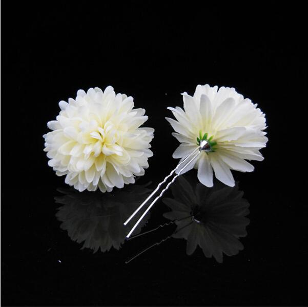 women cream fabric daisy flower hair stick wedding bridal U shape hair accessories bride bridal hair