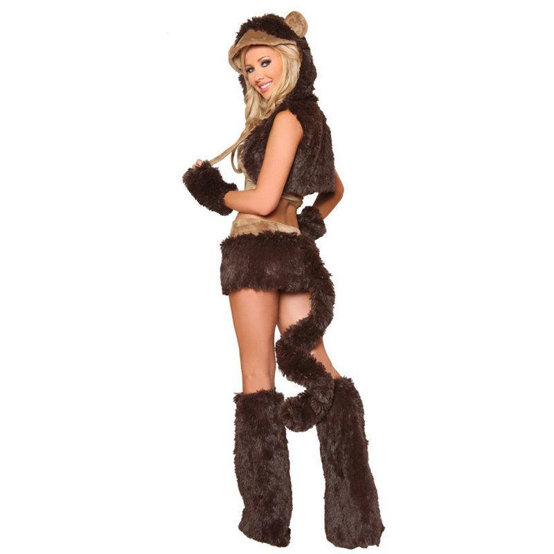 Monkey Ears /& Tail Faux Fur Fancy Dress Kids /& Adults