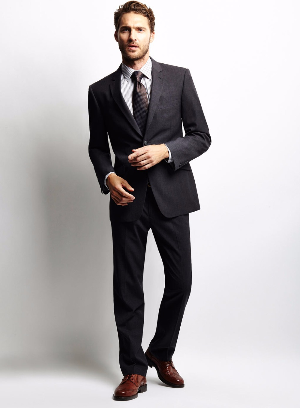 Slim Fit Dark Grey Suit Dress Yy