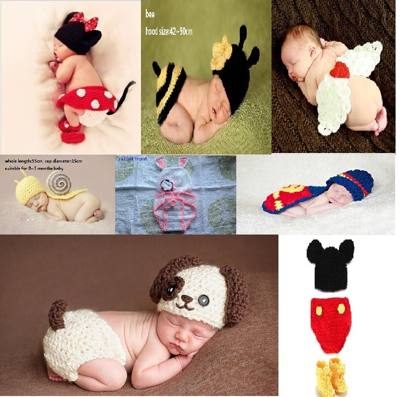 Soft Handmade Crochet Cotton Newborn Photography Props Knitted Beanies Costume Set For 0~12 Months Clothes And Accessories KF498(China (Mainland))