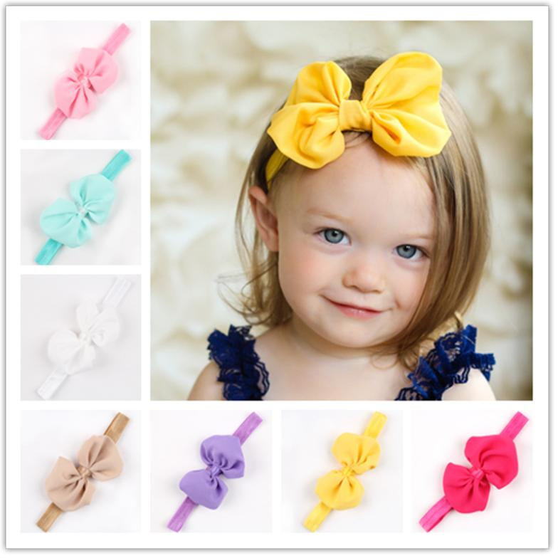 New 2015 nice bow baby headband child elastic ribbon hairband girls headbands 52 hot selling 10 colors high quality 1 pcs retail(China (Mainland))
