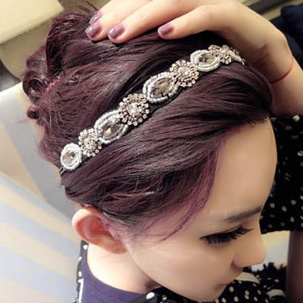 Fashion Retro Style Women HairBand Crystal Rhinestone Gray Beads Headband Hair Band(China (Mainland))