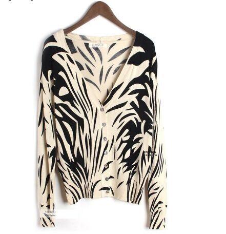 Zebra Print Cardigan Sweater 92