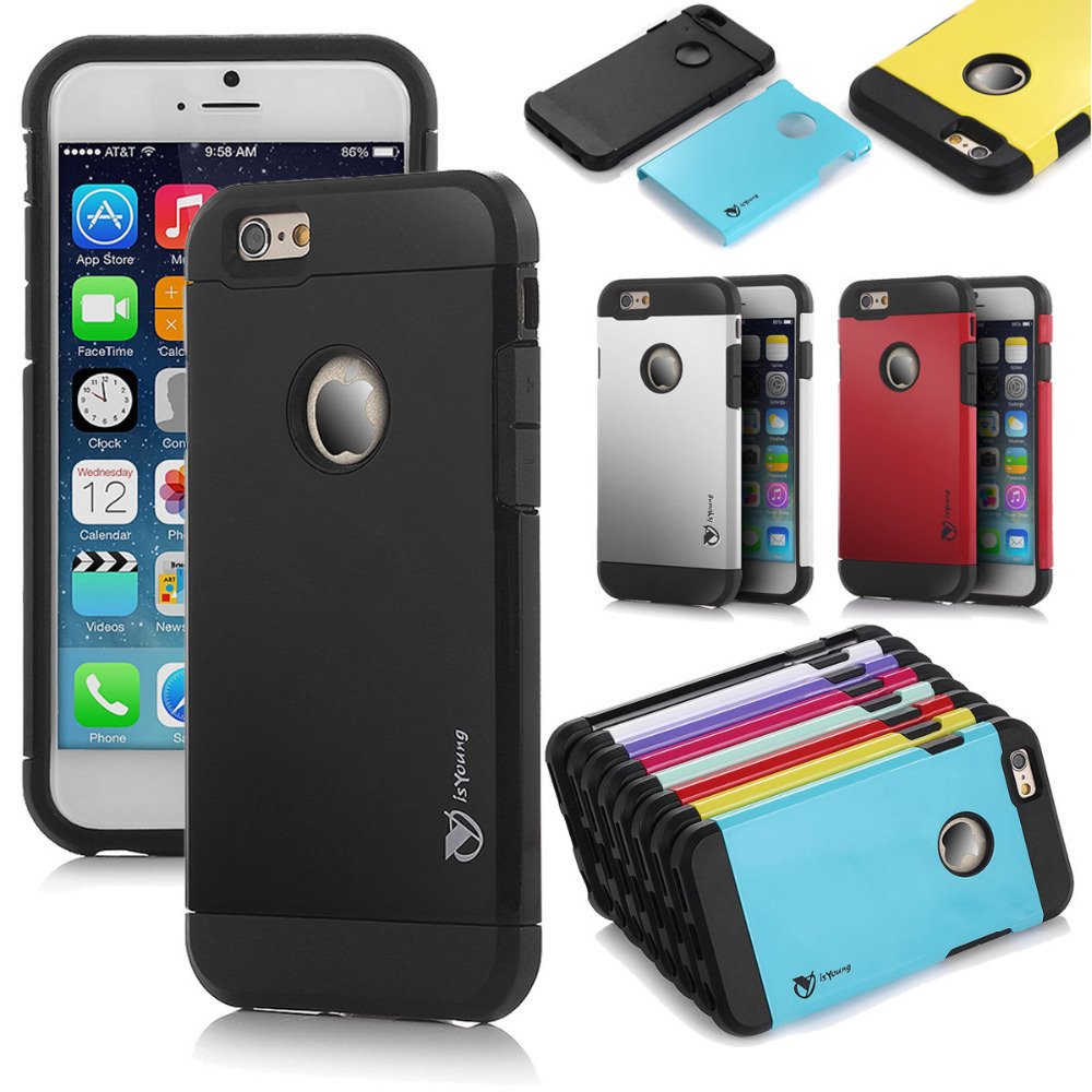 Hard Soft Shockproof Rugged Hybrid Rubber Hard Cover Case For Apple iPhone 6 4.7(China (Mainland))