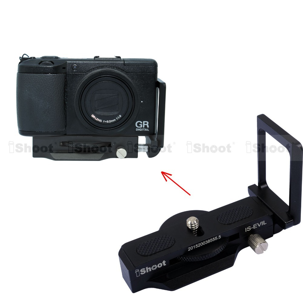 Adjustable Vertical Quick Release Plate Camera Holder L Bracket Grip for Ricoh GR D Series Tripod Ball Head(China (Mainland))