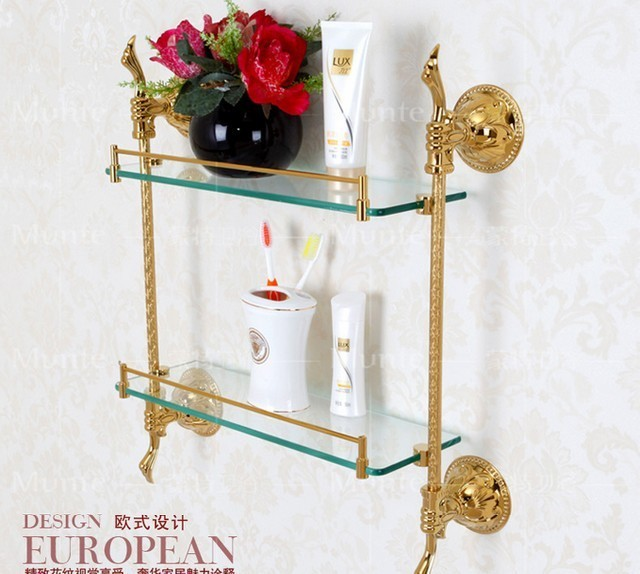 Free shipping European style luxury copper golden 2-tier glass carved bathroom shelf cosmetics holder bathroom decoration