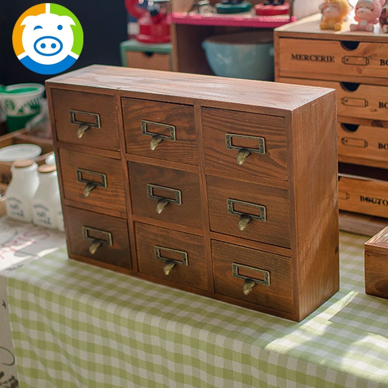 zakka Grocery Retro Wood to Do the Old Nine Drawer Organizer Storage Cabinets Wooden Home Daily Organizador Storage(China (Mainland))