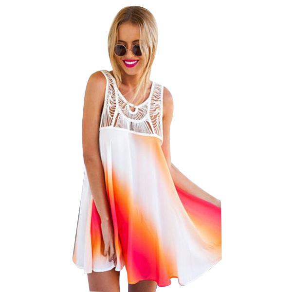 Plus Size Summer Style 2015 Chiffon Lace Dress Women Sleeveless Patchwork Vestido De Festa Floral Hem Backless Beach Dresses(China (Mainland))