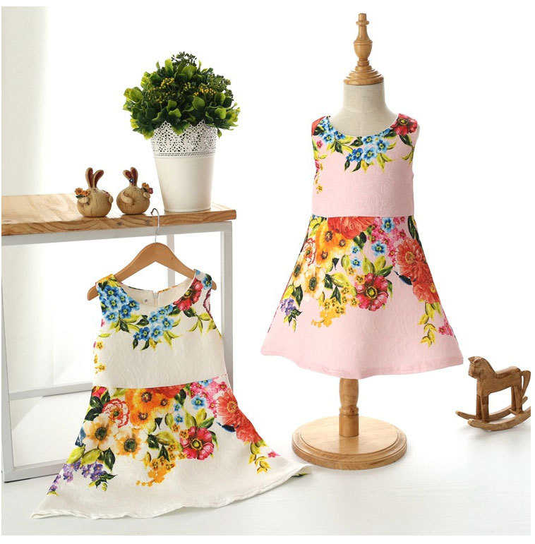 fashionable toddler girl clothing summer 2015 white flower girl dresses sleeveless cute fashion vintage evening dress for girls(China (Mainland))