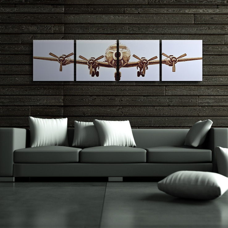 4 panels airplane canvas painting quadro home decor for Airplane decoration