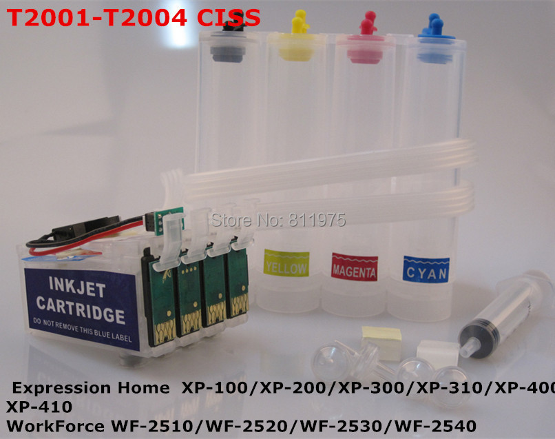 T2001 CISS Continuous Ink Supply System For epson  XP-100/XP-200/XP-300/XP-310/XP-400/XP-410  WF-2510/WF-2520/WF-2530/WF-2540<br><br>Aliexpress