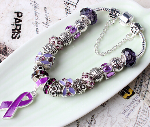 Summer Style 925 Sterling Silver Jewelry purple Charm Murano Beads Fit Pandora Bracelet Women Love Chain Bracelets Gift pulseira(China (Mainland))