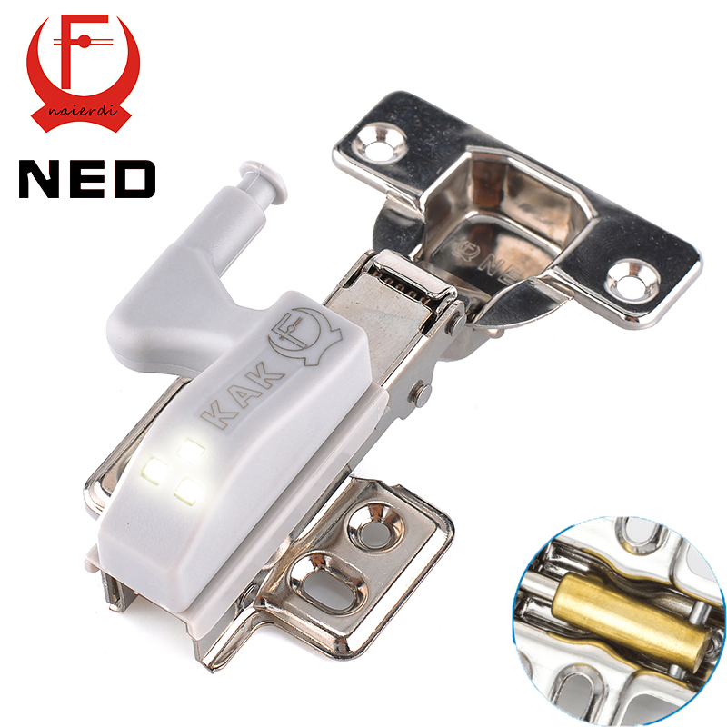 NED Stainless Steel Hydraulic Hinge With Copper Damper Buffer Cabinet Cupboard Kitchen Door Hinges With 0.25W LED Sensor Light(China (Mainland))