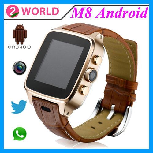 2015 Original M8 Watch Phone Android 4.4 Kitkat Smart Watch MTK6572 Dual Core 8G ROM GPS WIFI 3MP Camera Whatsapp Gmail Skype(China (Mainland))